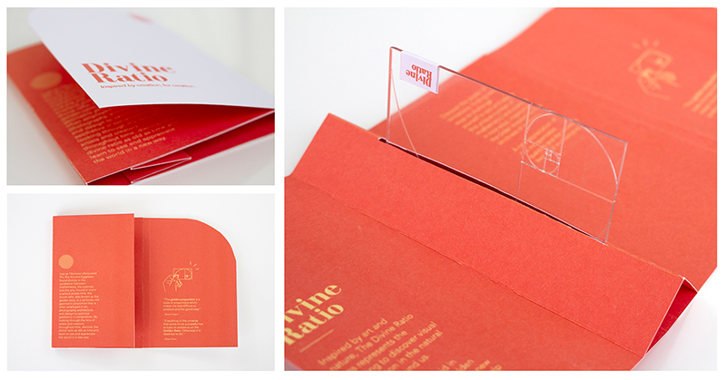 An image of a clear plastic card housed in a cardboard sleeve with the golden section etched into it by Amy Highland