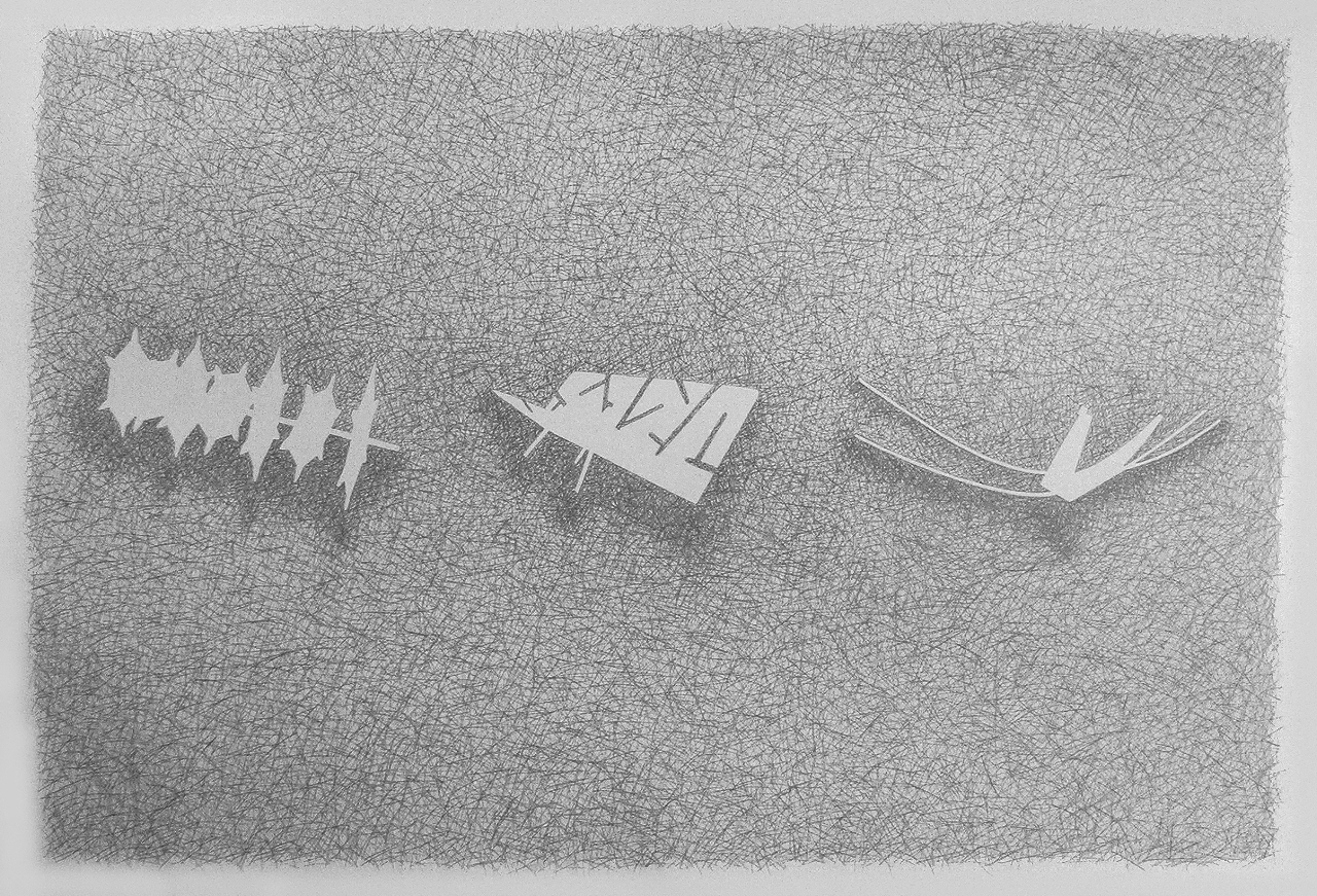 Drawing by Verity Mansfield, '3 Remnants For Dodnash', pencil on fabriano paper, 800 mm x 1100mm