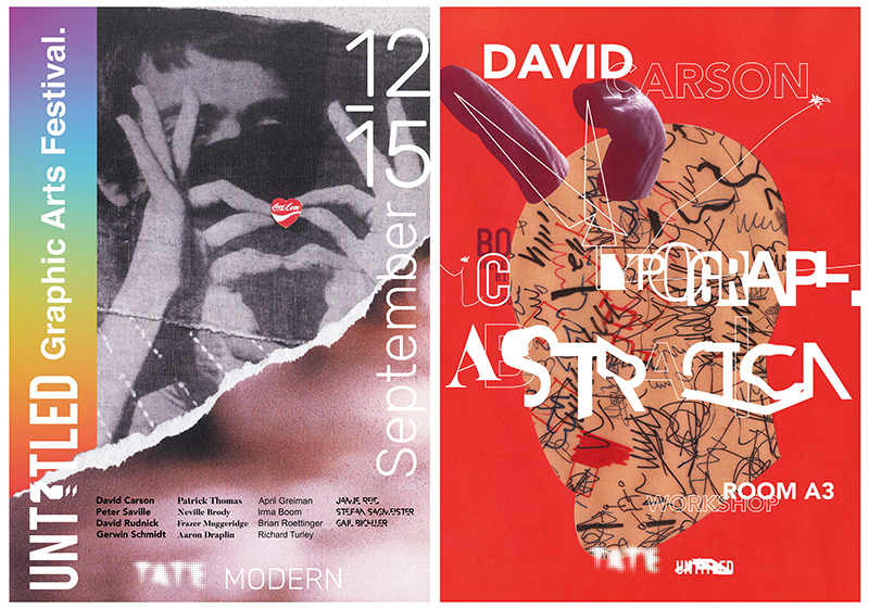 2 colourful abstract posters advertising a Graphic Arts Festival