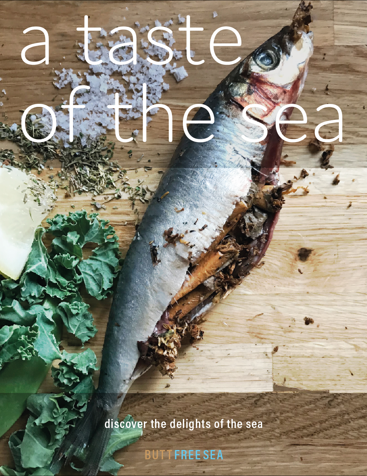 Fish recipe front cover by Scarlett Painter