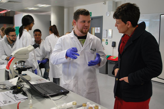 Jo Churchill visit 11 November speaking to Bioscience students 1