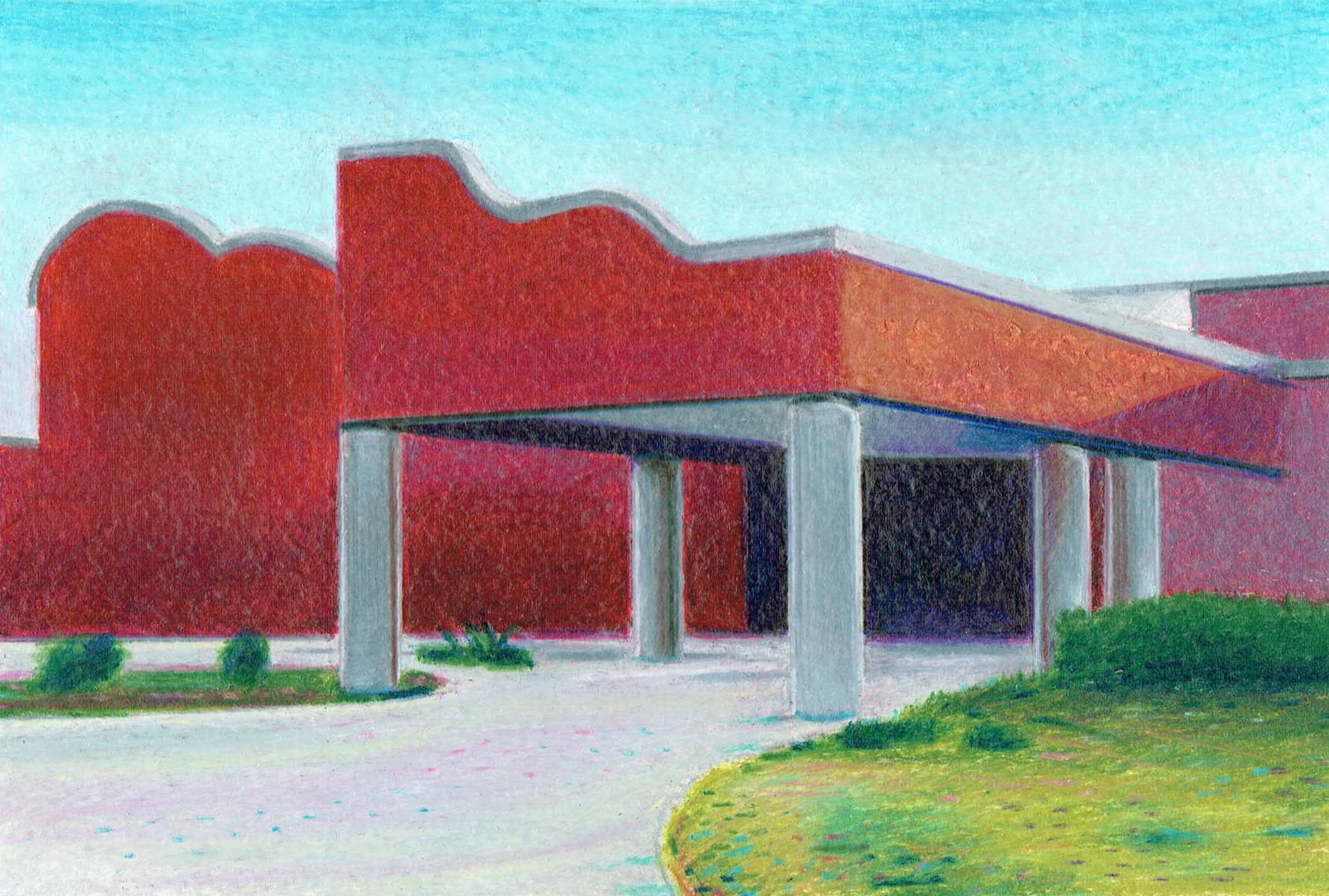 Red Lake High School, Pencil and Crayon on Paper, 12 x 18 cm, 2015 Robert Priseman