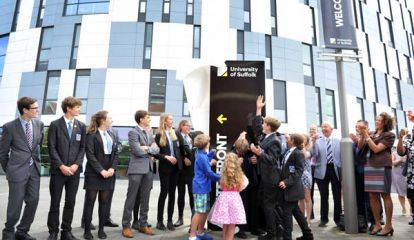University of Suffolk- Suffolk young people unveil campus signage
