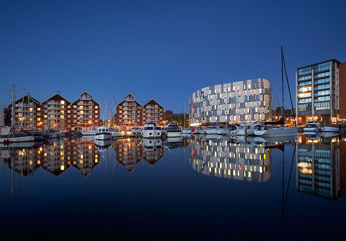 Image of Ipswich waterfront at night