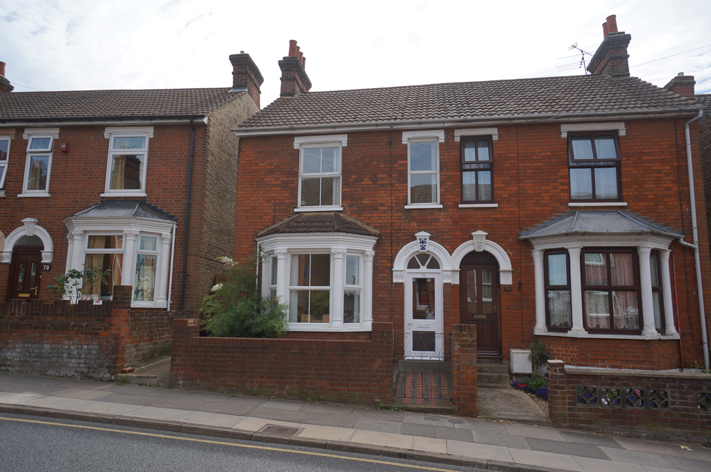 Front view of a semi-detached house