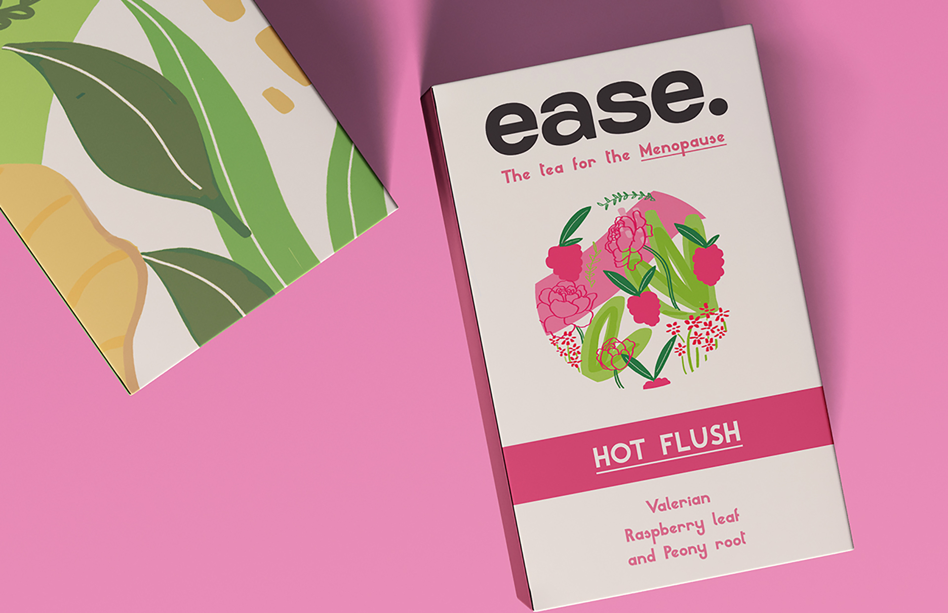 An image of the back and front of rectangular packaging box of tea. The back features an illustration of leaves and the front product information. These are laid on a pink background