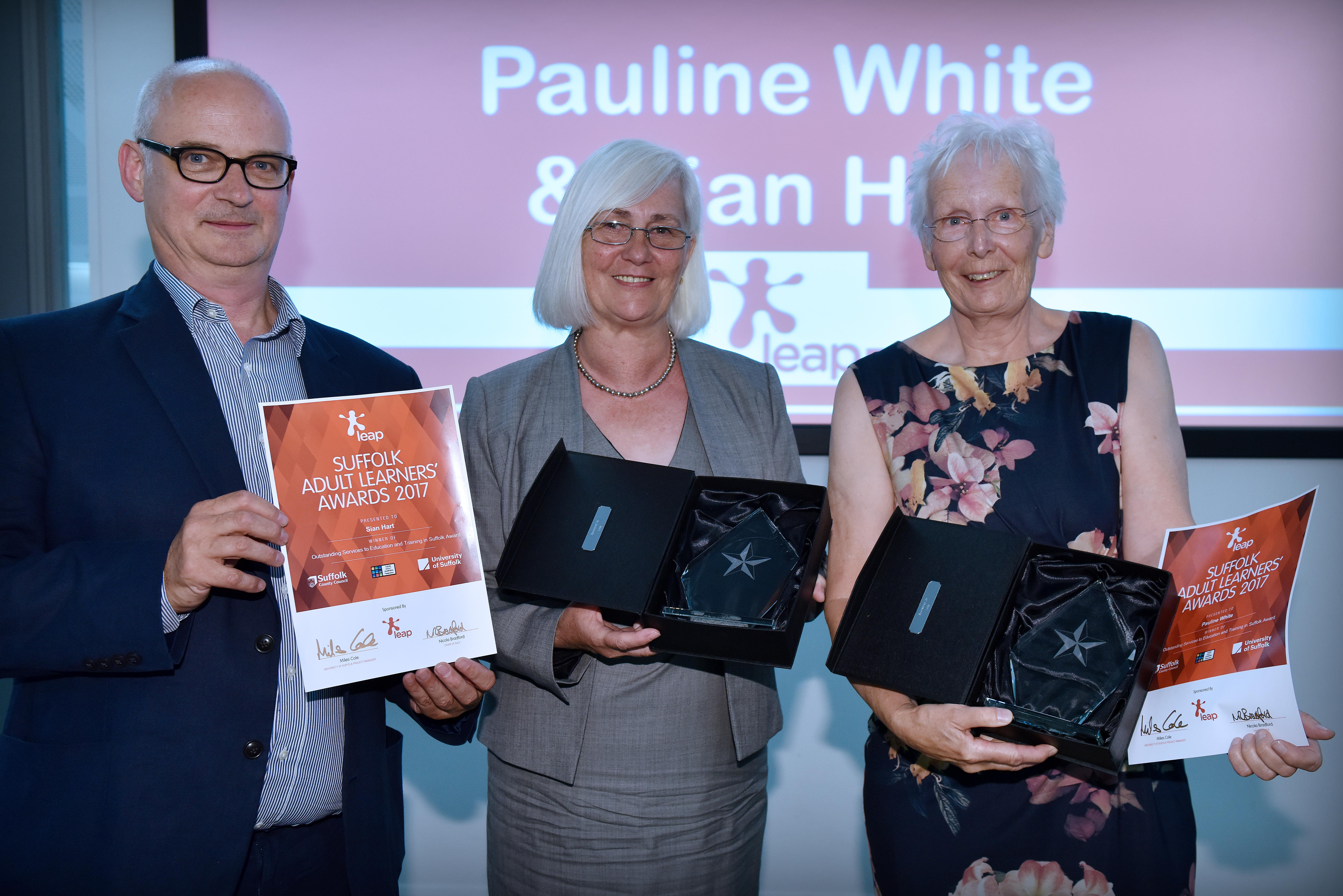 Winners of the Outstanding Services to Education & Training in Suffolk Award 2017Pauline White & Sian Hart from Coastal Leisure Learning