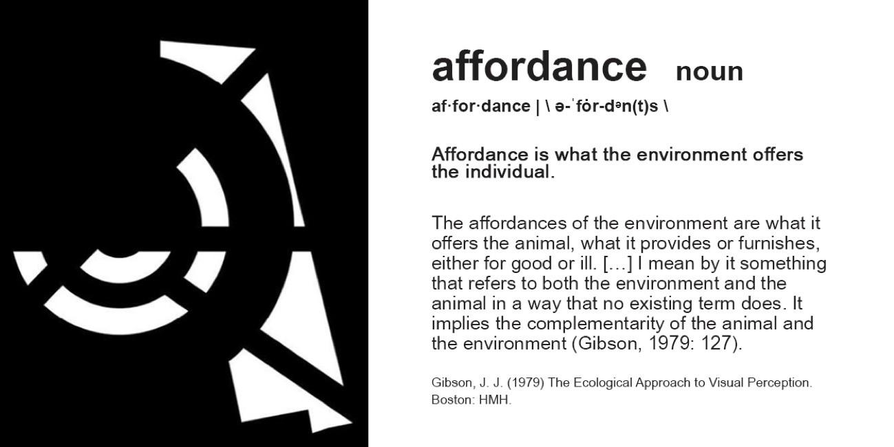 Decorative image explaining the word affordance
