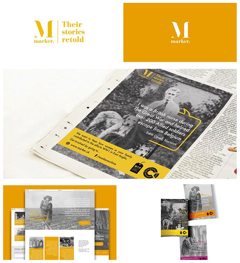 branding, newspaper advert, website and leaflet design for Marker
