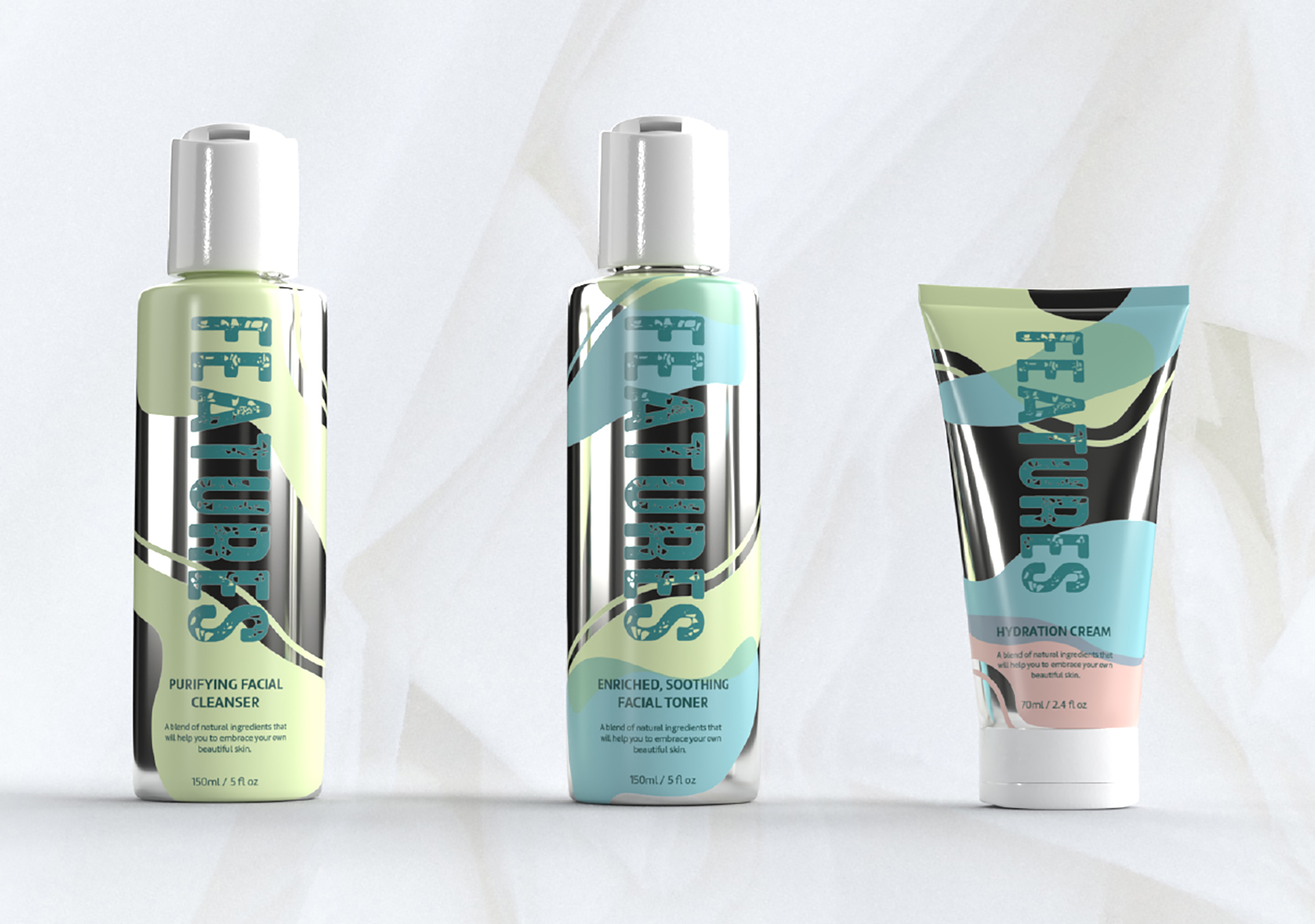 A photograph of 3 items of cosmetics packaging with the logo for the brand 'Features'