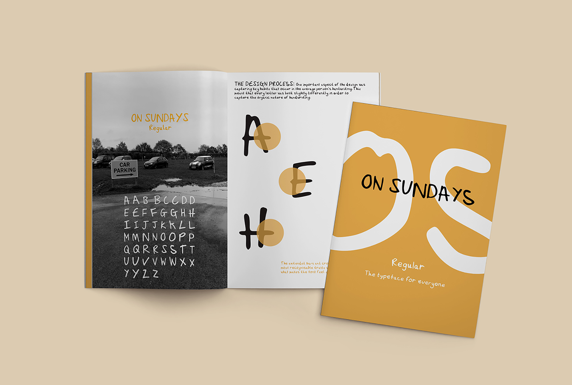 A photograph of a booklet advertising a typeface called On Sundays