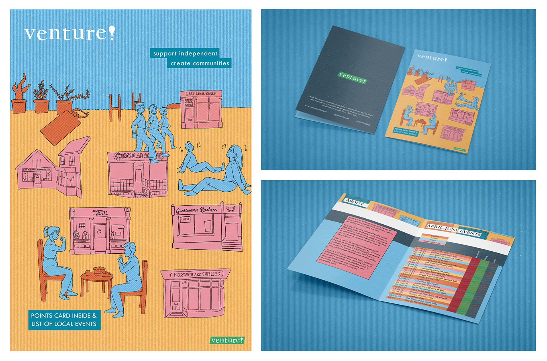 3 images of a poster and leaflet containing hand-drawn images of buildings and people relaxing