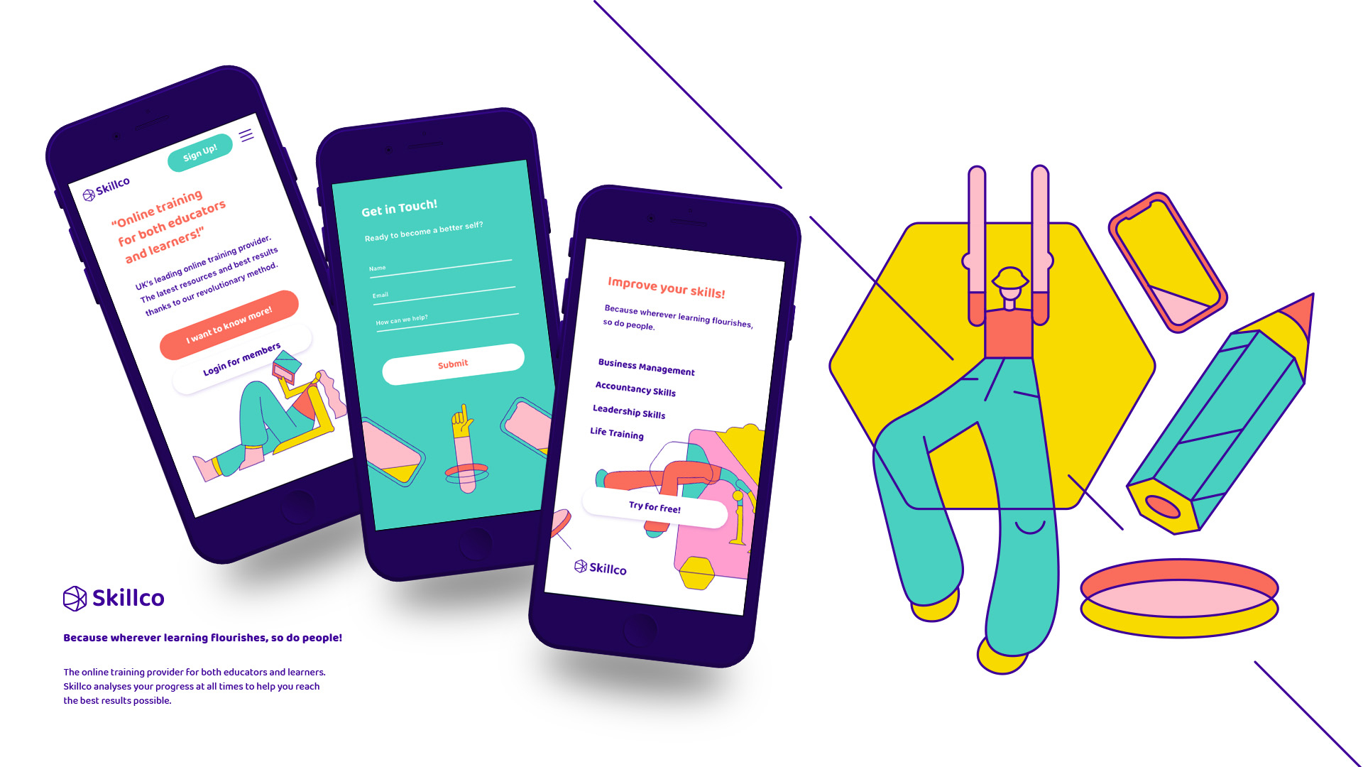 Image of 3 mobile phone screens displaying a website for Skillco next to an illustration of a person with their arms in the air and drawings of a mobile phone and a pencil
