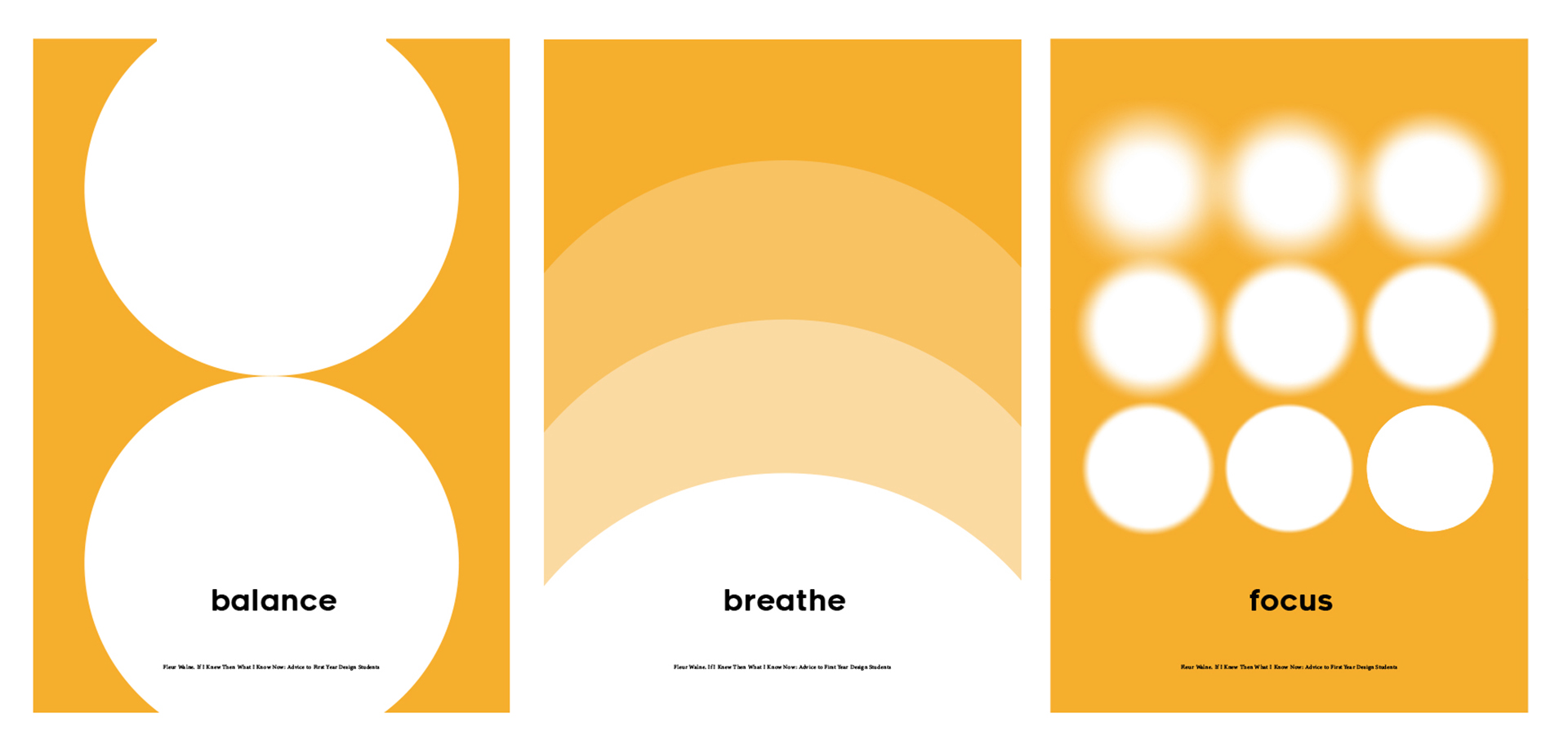 Three posters using circles on an orange background with text 'balance', 'breathe', and 'focus'.