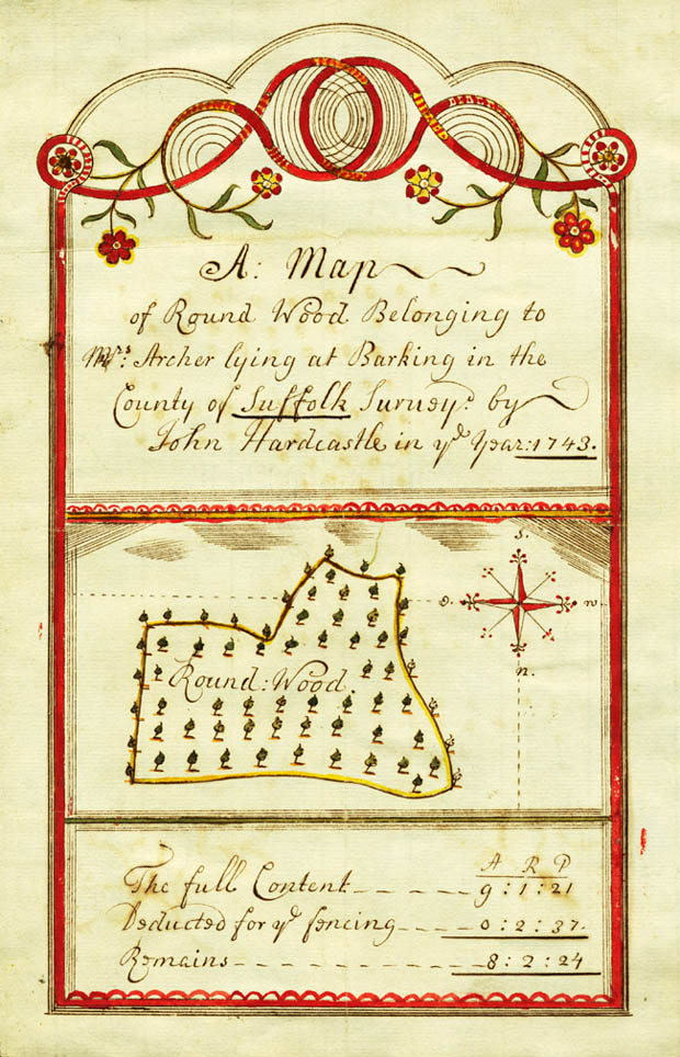 Coloured Map of 'Round Wood', Barking Suffolk, belonging to Mrs Archer and surveyed by John Hardcastle (1743)