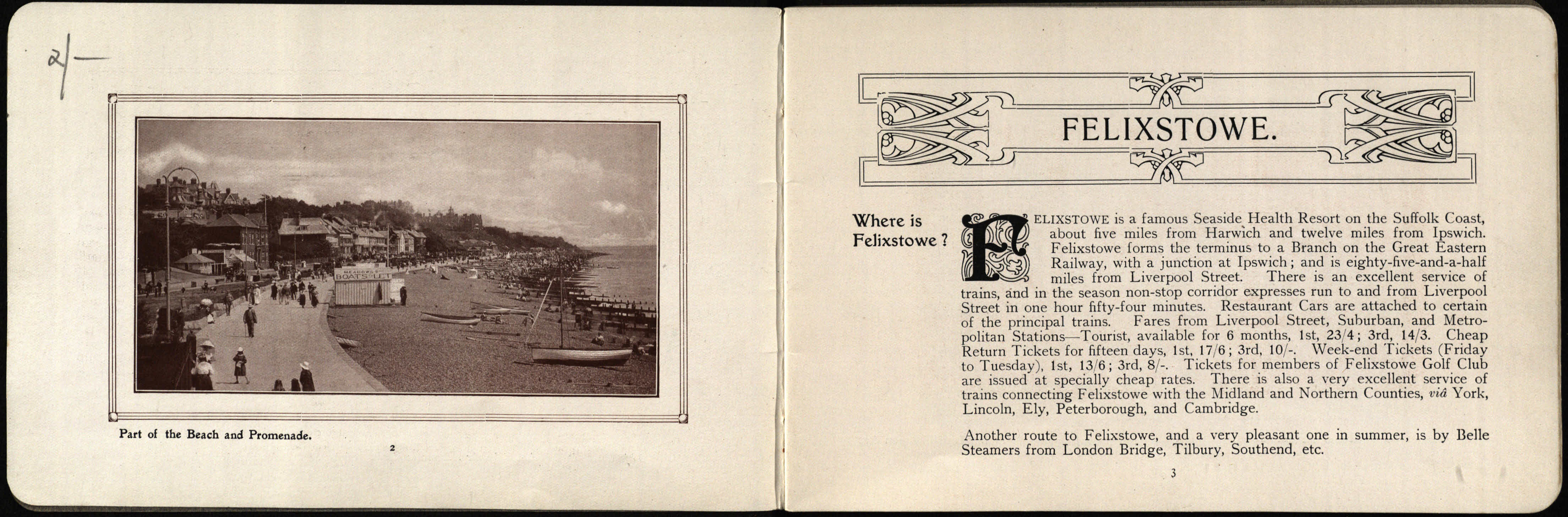 Sunny Felixstowe, queen of the east coast - Booklet c1913. We also have a version in French.