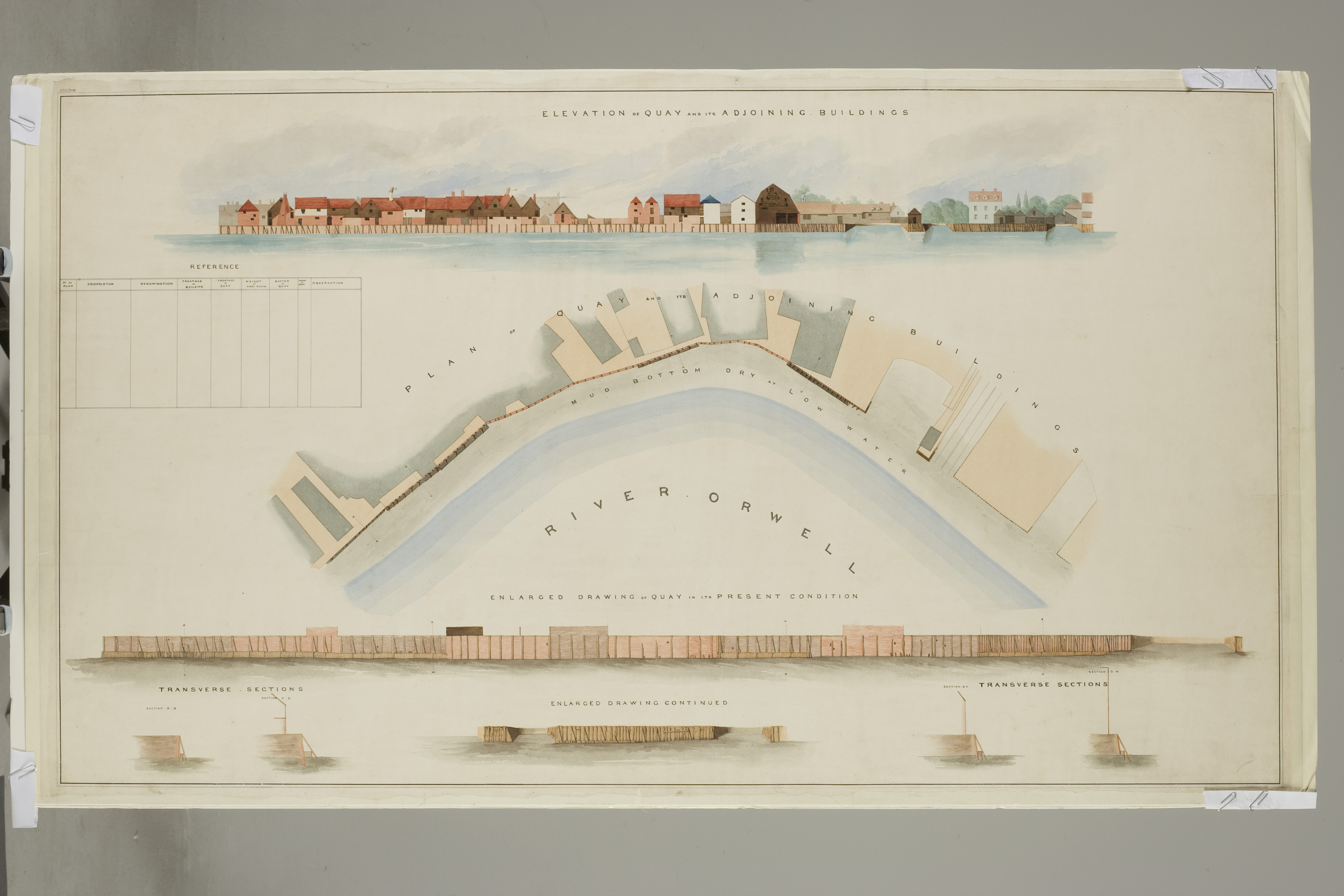 Elevation and plan of quay and its adjoining buildings; enlarged drawing of quay in its present condition, by Edward Caley 1837 - One of a set of 4 watercolours. There are also 2 books of sketches of dock and dock-side buildings, presumably the drafts.