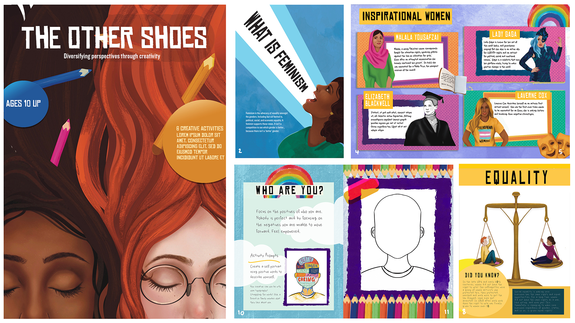 The front cover and 6 page spreads of a magazine called The Other Shoes