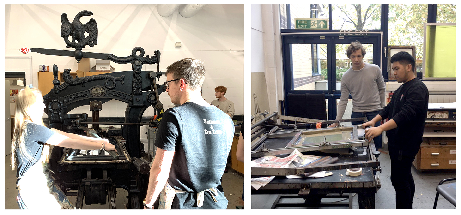 2 photographs of students using the print room facilities