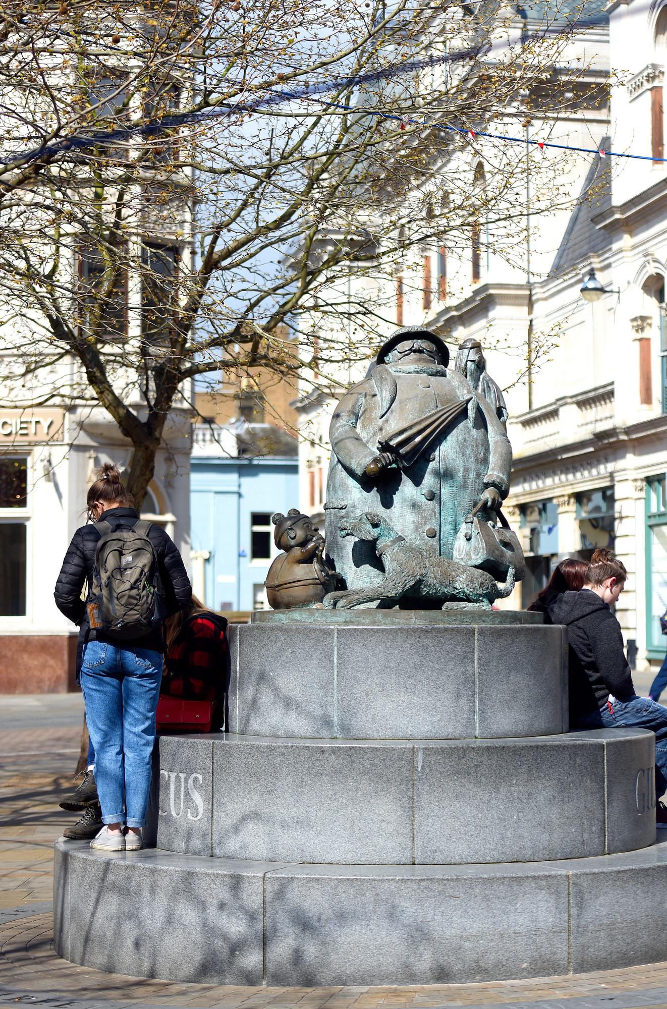 Giles Statue in Ipswich in the sun