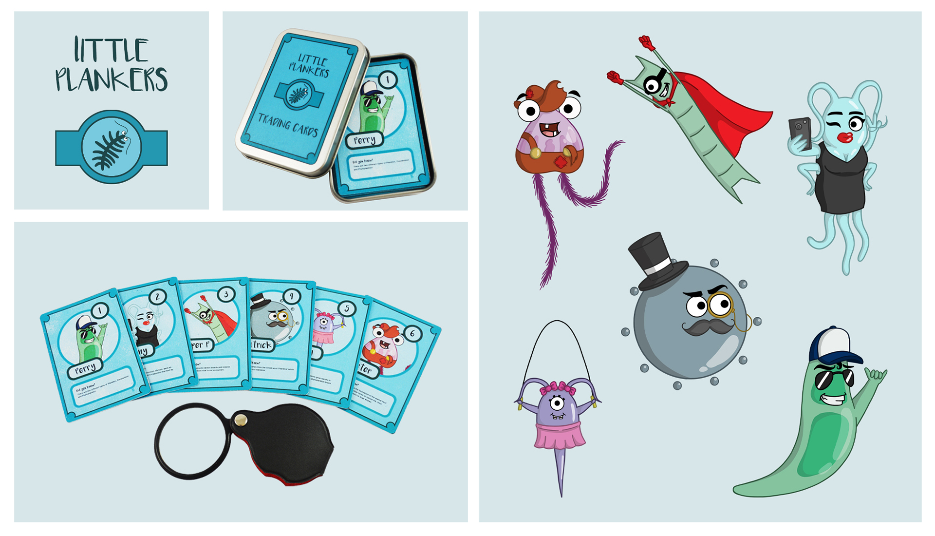 4 images showing a logo and trading cards with illustrated creatures.