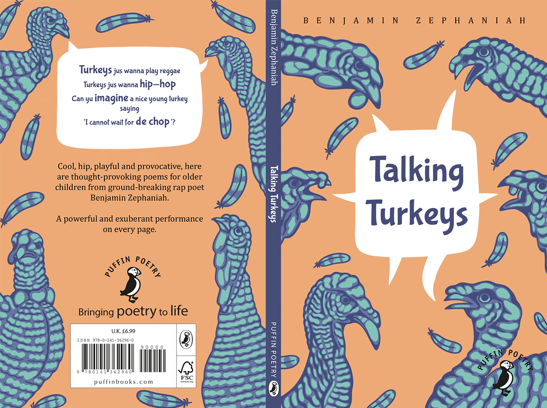 Book jacket design laid flat showing the front and back cover with illustrations of turkeys and book blurb text