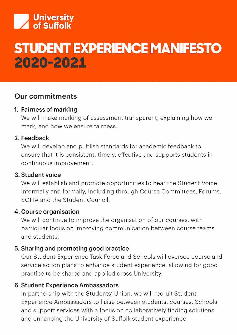 The Student Experience Manifesto, what we will do for you.