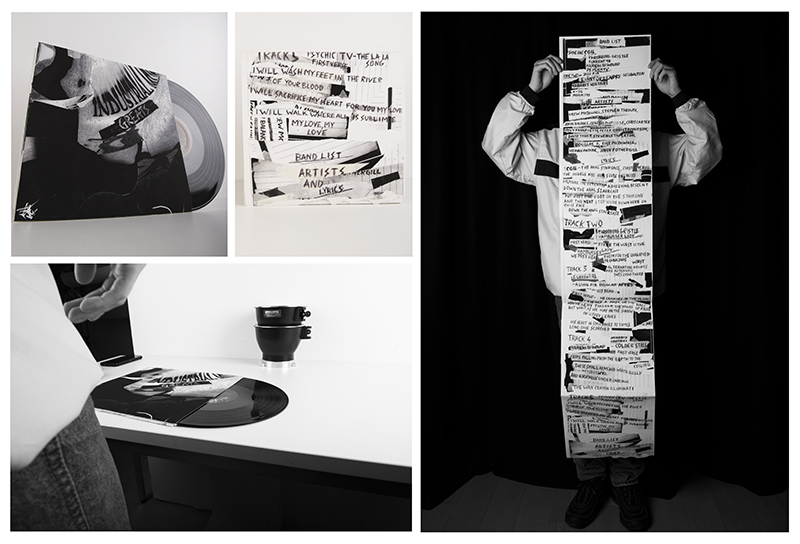4 photos of a vinyl record sleeve design for an Industrial Music compilation