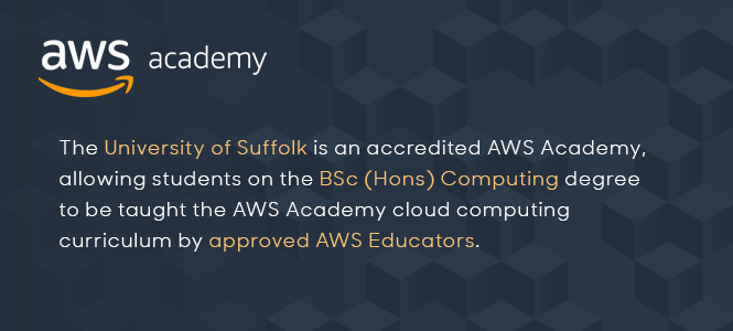 Students on the BSc (Hons) Computing degree are taught the Amazon Web Services cloud computing curriculum