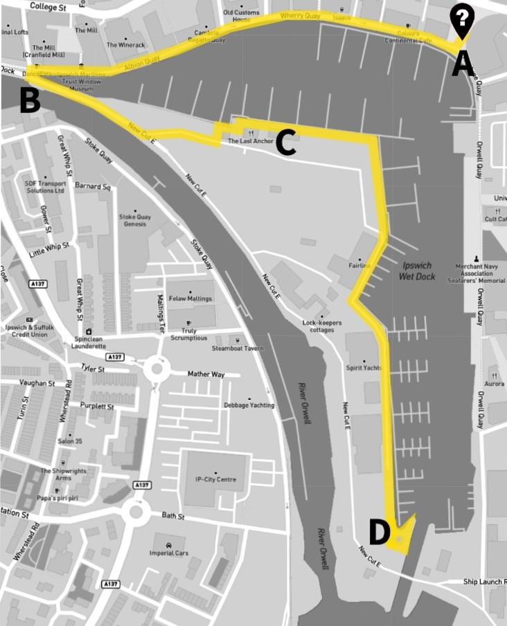 Map of Ipswich waterfront walk