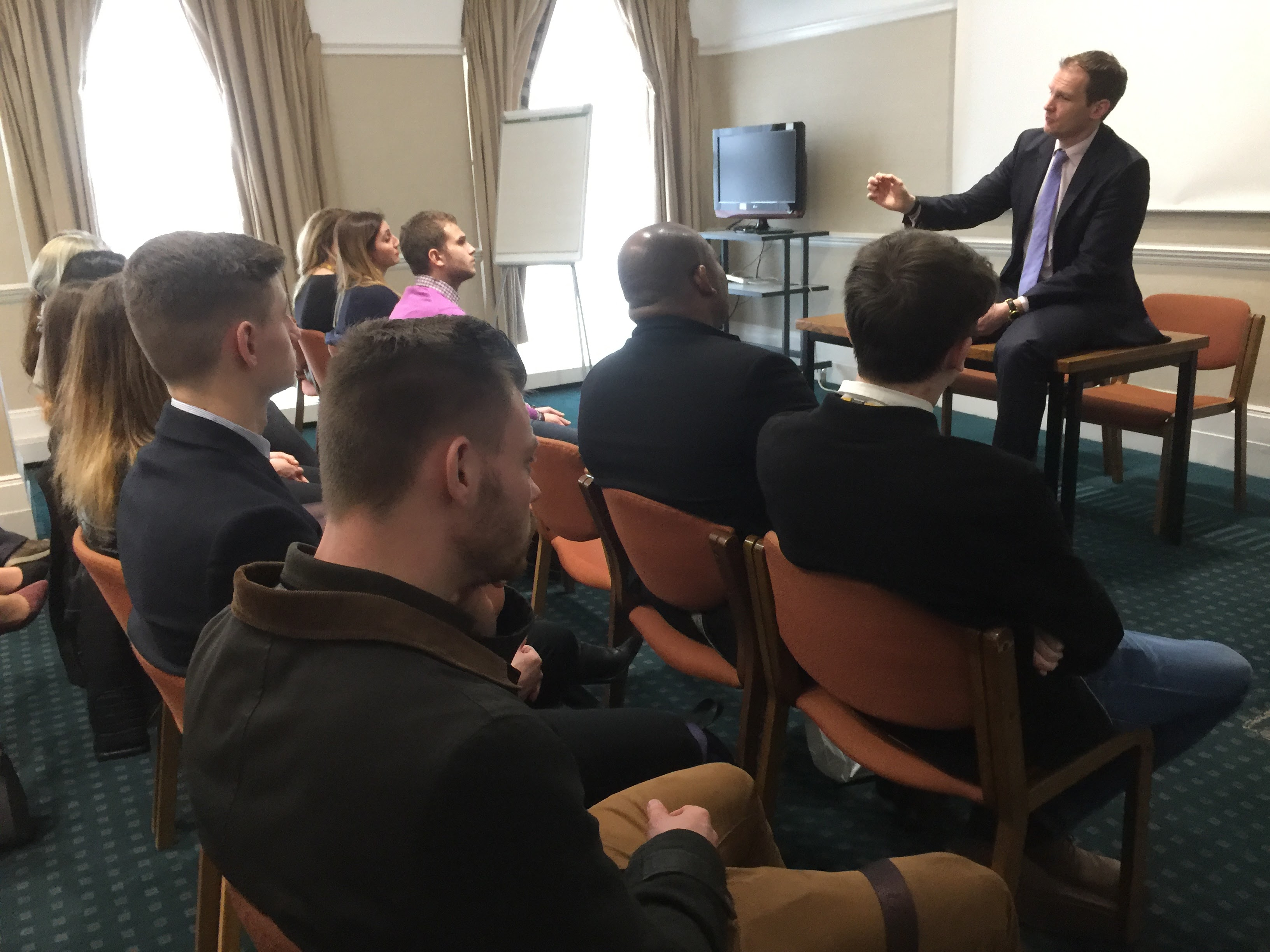 2017-03-29 Dr Dan speaks with students from University of Suffolk