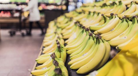 Bananas in a food shop