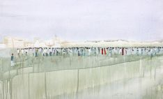 Crowd, oil and acrylic on board, 60  x 90cm, 2014