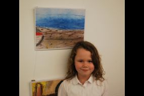 Willow with her artwork 1