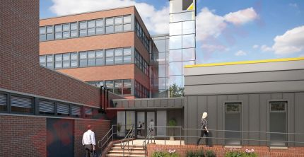 CGI of East Building, external view of clinical entrance